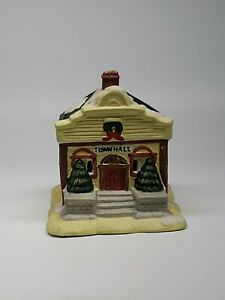 Ceramic-TOWN-HALL-Christmas-No-light-cord-included-see-description-USA-RETAILER