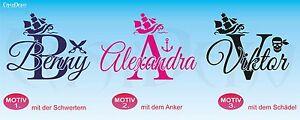 AgréAble Pirate + Wunschname Mural Bateau épée Ancre Crâne Autocollant Sticker-afficher Le Titre D'origine Moins Cher