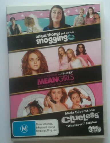 1 of 1 - ANGUS, THONGS & PERFECT SNOGGING/MEAN GIRLS/CLUELESS - 3-Pack DVD Set - VGC