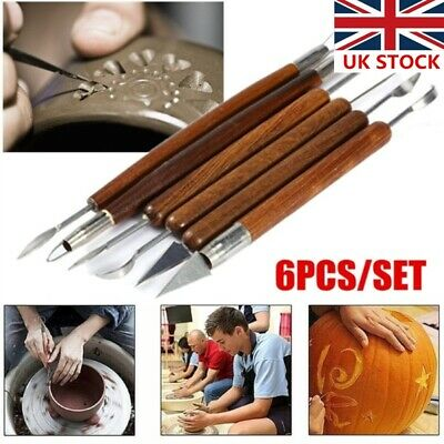 """Professional 8/"""" Ribbon Double-Ended Sculpting Wax Carving Pottery Tools 6pcs Set"""