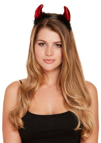 Red Devil Horns Headband with Black Fur Hen Night Halloween Demon Fancy Dress