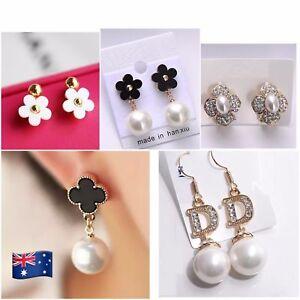 4c784b304a Details about Designer Gold Plt Jewellery Woman Stud Earrings Daisy Flower  Pearl Crystal JE56