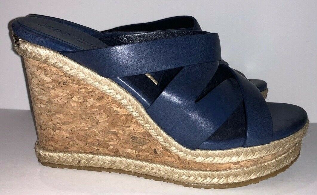 NWOB Jimmy Choo Prisma Prisma Prisma blu Vachetta Wedge Leather Sandal Spain Sz 36 add2d7
