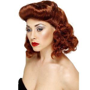 Donna-adulto-1940-Retro-Tempo-di-Guerra-Pin-Up-Girl-Auburn-Parrucca-Costume-Accessorio