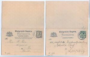 DEUTSCHLAND-BAYERN-1892-MI-P41-42-WITH-REPLY-VF