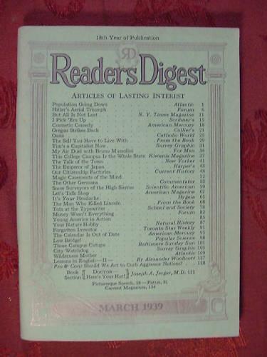 Readers Digest March 1939 John Gunther Ruth Gordon ++