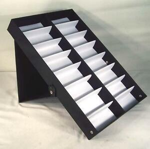20d09a4243d4 Image is loading VERTICAL-PORTABLE-SUNGLASS-COVERED-16-PAIR-DISPLAY-TRAY-