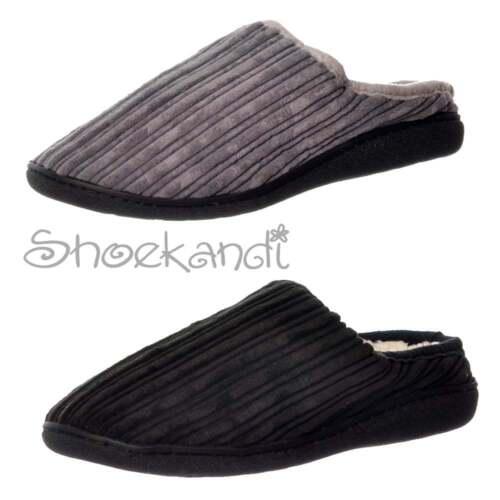 Para Hombre Chicos Luxury Piel Forrada Slip On Mula Pantuflas hard wearing Suela Negro Gris