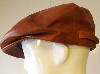 Vintage, United Hatters, Cap & Millinery Wkrs, Brown, Leather Flatcap (Size Med)