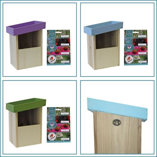 Nesting Box Bird House With Roof Top Garden & Free Seeds makes a lovely Gift