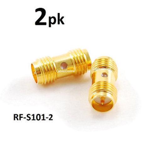 Reverse Polarity Female//Female Gold Coupler Adapter 2-PACK RP-SMA RF-S101-2