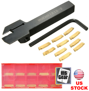 10Pcs MGMN200 Inserts MGEHR1212-2 Lathe Grooving Tool Holder Cut-Off Wrench
