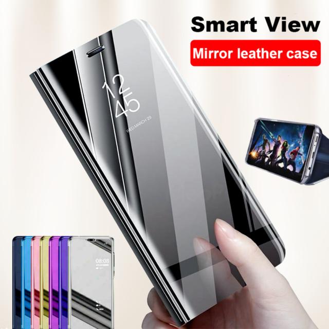 Pour Huawei Mate 30 20 Lite 10 9 Pro Miroir étui en cuir intelligent Flip coque