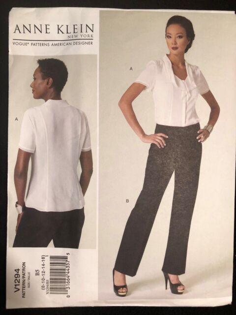 Vogue Anne Klein Blouse & Pants American DESIGNER Sewing Pattern ...