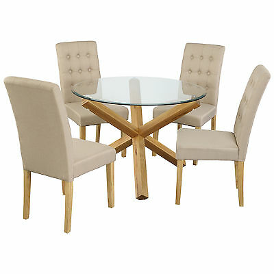 Oak & Glass Dining Table and Chair Set with 4 Seats | Green Grey Purple Beige
