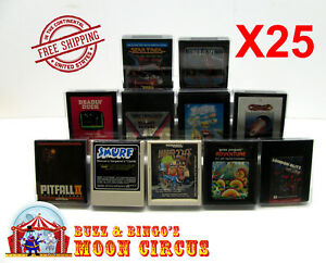 25x-ATARI-2600-GAME-CARTRIDGE-CLEAR-PLASTIC-PROTECTIVE-BOX-PROTECTOR-SLEEVE-CASE