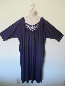 Anthony Richards Womans 2XL Gray Long Nightgown Shirt Mumu Lounge Wear 2 Pockets