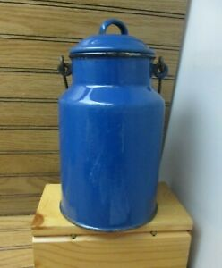 Antique-Blue-Graniteware-Enamelware-Milk-Can-Green-White-Lined-6-3-4-034-Stamped