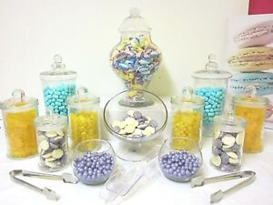 12-SET-BELLA-Candy-Lolly-Buffet-Glass-Jars-Wedding-Free-Storage-Tub-Tongs-Scoops