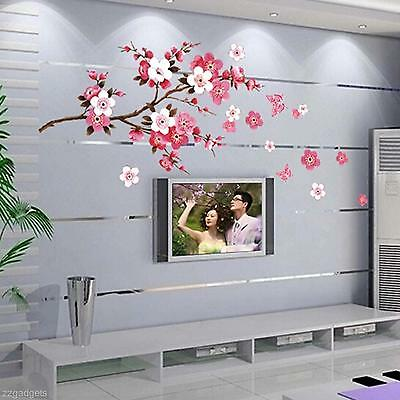 Removable Peach Blossom Butterfly Wall Decal Stickers Decor Kids Nursery Room