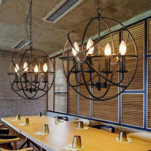 Image Is Loading Retro Foyer Pendant Light Warehouse Orb Cage Metal