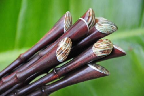 Handmade /'bamboo/' carved wooden HAIR STICK SHAWL PIN SHELL tip Sono wood new