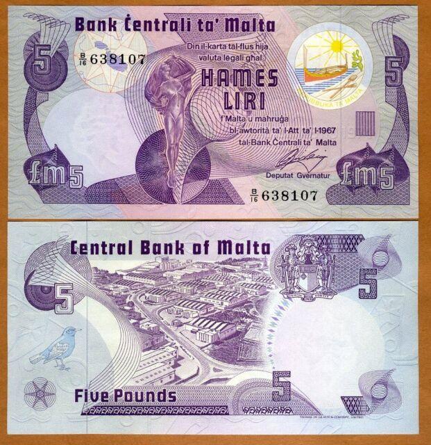 Malta, 5 Liri L.1967 (1979) Pick 35 UNC > Pre-Euro
