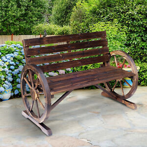 Outsunny Wooden Wagon Wheel Bench Garden Loveseat Rustic