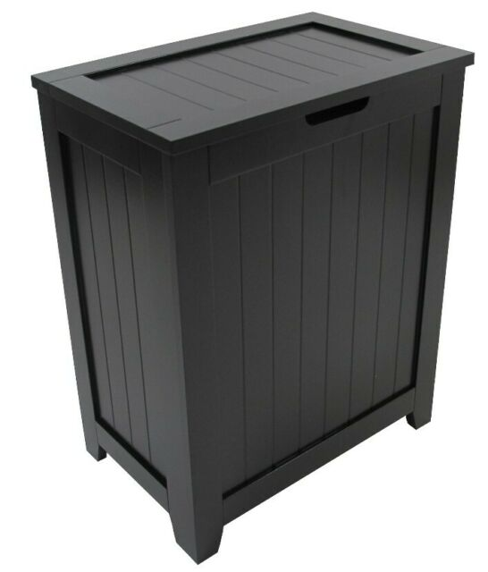 Country Wood Black Laundry Hamper With