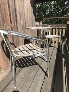 Details Zu Bistrogarnitur Gartenmöbel Set Bistrotisch Metallisch 2 Stühle Metallholz