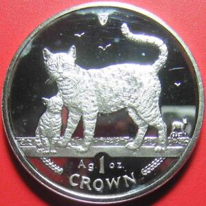 2002-ISLE-OF-MAN-1-CROWN-1oz-999-SILVER-PROOF-BENGAL-CAT-KITTEN-WORLD-COIN-39mm