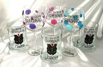 Will you be my Bridesmaid? Maid of Honour Groomsman Best Man proposal glass each