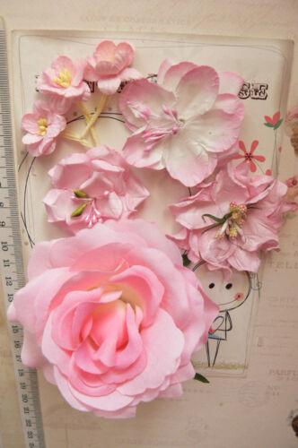 PINK /& WHITE 1 Rose 100mm /& 6 Flowers 25-55mm 5 Styles PAPER /& SILK MH VE3