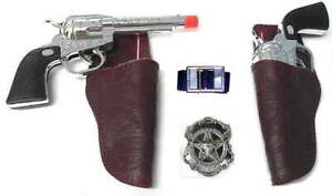 Western-Toy-Cowboy-Gun-amp-Holster-Set-with-Sheriff-Badge-and-Belt-blk
