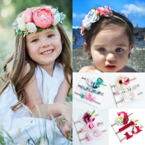 3Pcs Kids Girls Baby Toddler Flower Bow Headband Headwear Hair Band Accessories
