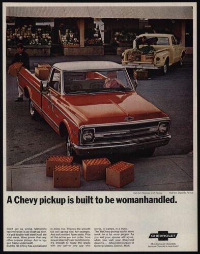 1969 CHEVROLET FLEETSIDE Orange 1//2 Ton CST Pickup Truck WOMANHANDLED VINTAGE AD