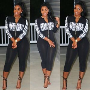 5da66551a1f9 Image is loading Women-Lady-Sexy-Long-Sleeve-Romper-Jumpsuit-Stretchy-