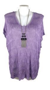NWT-AUTOGRAPH-Top-Mauve-Purple-Short-Sleeve-Scoop-V-Neck-Knit-Jumper-L-22-24
