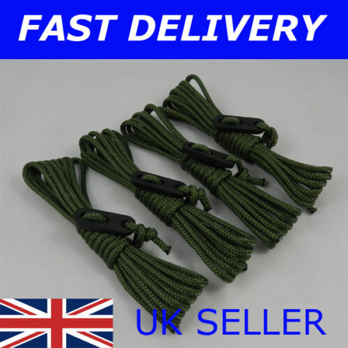 X4 OLIVE GREEN Guy Line Ropes 2.4 M Tent Camping Gazebo Rope Paracord Camouflage
