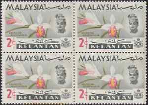 MALAYSIA KELANTAN 1965 ORCHIDS 2c B/4 MNH