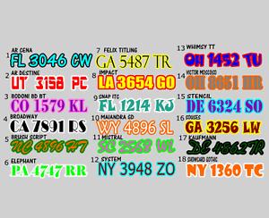 """3/"""" x 20/"""" Boat ski air boat CHOOSE FONT REGISTRATION NUMBERS PAIR 2 colors"""