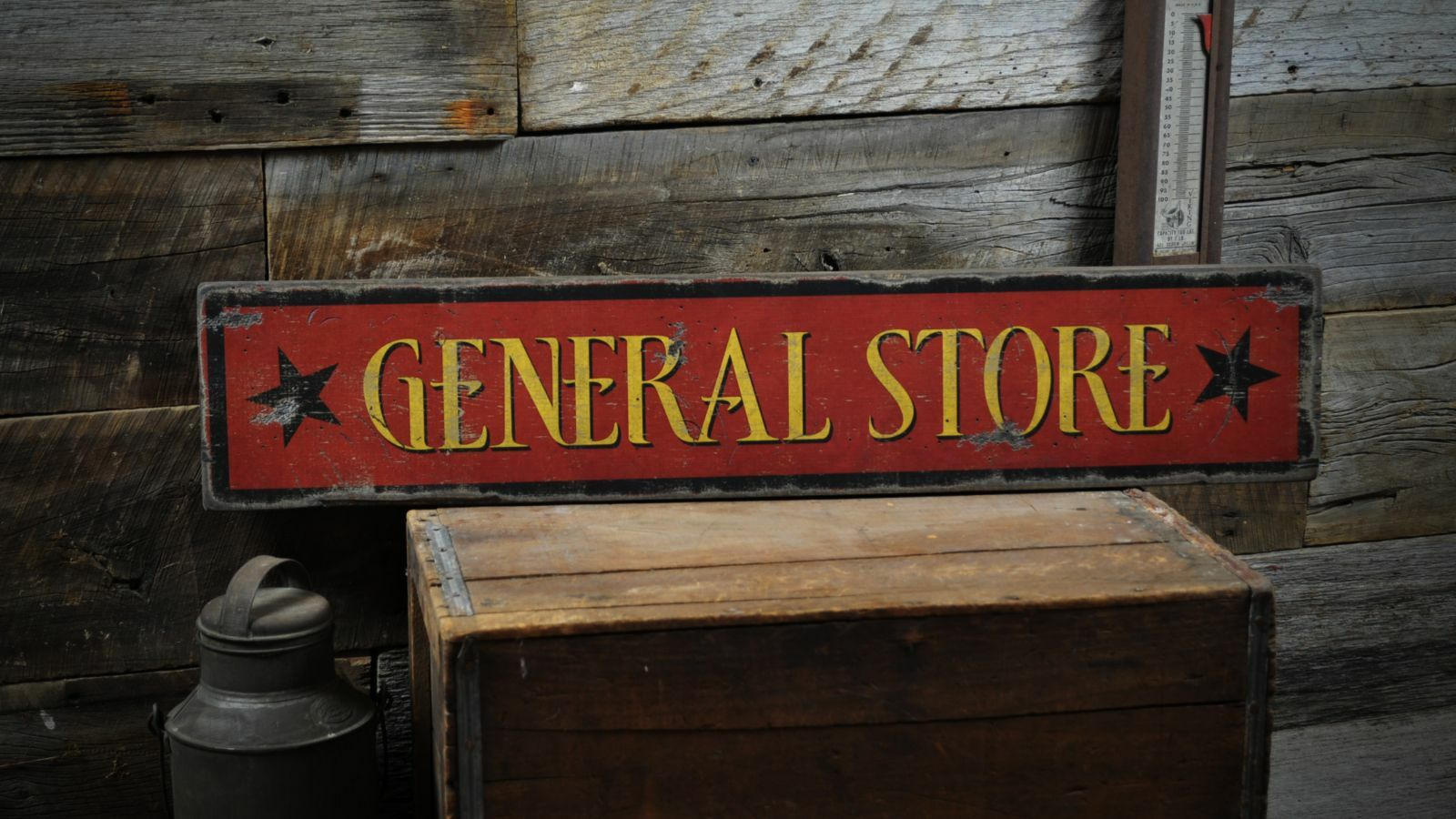 General Store with Stars - Rustic Hand Made Vintage Wooden Sign ENS1000149