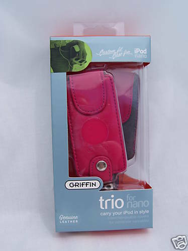 Griffin Hard-Shell Leather Case Belt Clip for iPod Nano1st 2nd Gen 4GB 8GB RED