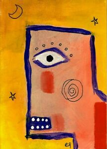 Original-Painting-Hand-Signed-Illustration-Board-Miniature-Picasso-Miro-ACEO