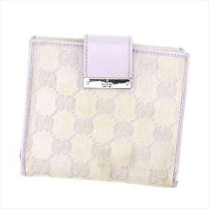 b27209b6e341 Image is loading Gucci-Wallet-Purse-Glogos-Purple-Beige-Canvas-Leather-