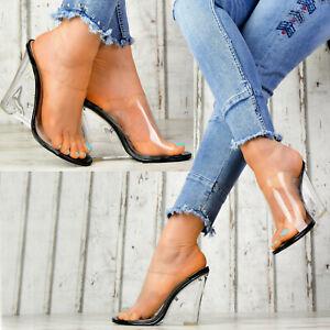 NEW-DESIGNER-LADIES-039-SHOES-Transparent-Wedge-Heel-Womens-Sandals-Stilettos-Party