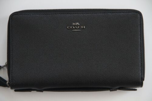 Authentic Coach Crossgrain Double Zip Travel Wallet Style # F23334 QBBlack