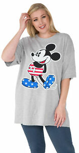 Women-039-s-Plus-Size-Mickey-Mouse-American-Flag-T-Shirt-Gray