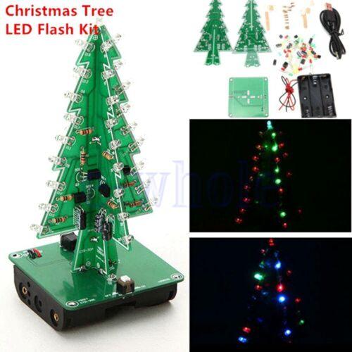 7Farbe 3D Weihnachtsbaum LED DIY Kit Bunt RGB Schaltung Elektronisch Geschenk ED