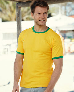Mens-Short-Sleeve-T-Shirt-Ringer-T-Shirt-All-Sizes-and-Colours